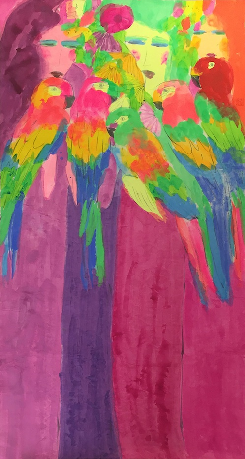 Three Beauties with Colourful Parrots by Walasse Ting Alisan Fine Arts