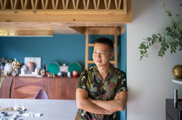 Nelson Chow at home in his treehouse-inspired Homantin apartment