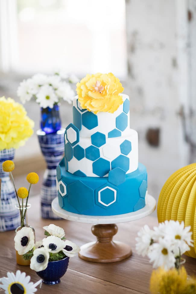 Modern Navy And Yellow Bridal Shower Pretty My Party