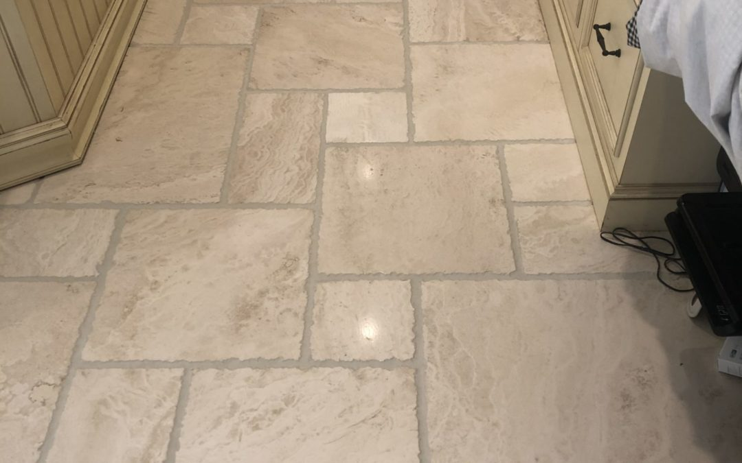 grout recoloring and travertine floor