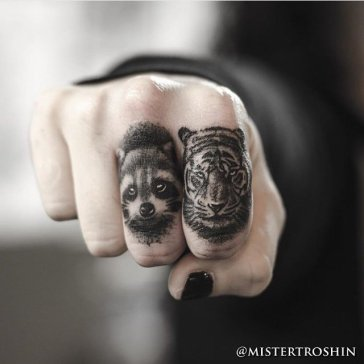 Coon-and-Tiger-Finger-Tattoos-by-Dmitry-Troshin