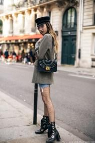 Paris-fashion-week-street-style-parisian-sailor-cap-denim-mini-skirt-checked-blazer-chloe-similar-lace-up-boots-trends-2016