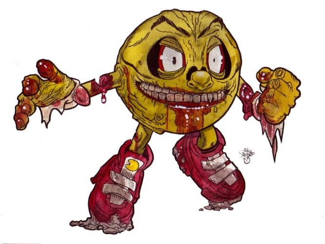 Zombie Art : More Video Game Zombie Art with Zombie Pac-Man! - Zombie Art by Rob Sacchetto