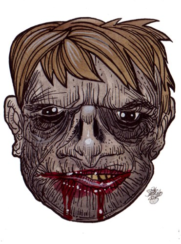 Zombie Art Grin Keeper Zombie Head - Zombie Art by Rob Sacchetto