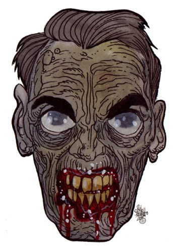 Zombie Art : Angry Coach Head - Zombie Art by Rob Sacchetto