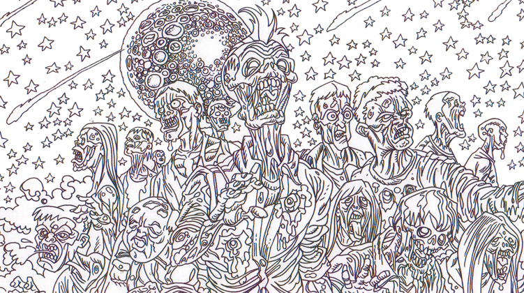 Zombie Art : Zombie Horde Coloring Book Image - Zombie Art by Rob