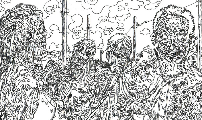 Zombie Art Town Adult Coloring Book