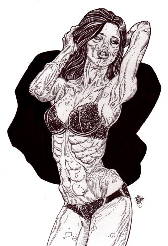 zombie art zombie pinup diva 175 Zombie Art by Rob Sacchetto