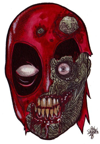 Zombie Art : Deadpool Zombie Head Zombie Art by Rob Sacchetto