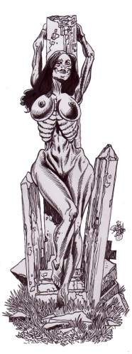 Zombie Art : Zombie Pinup Diva #197 Naked Grave Zombie Art by Rob Sacchetto