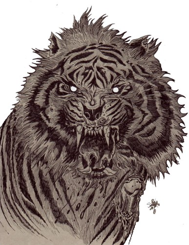 Zombie Art : Zombie Tiger! Zombie Art by Rob Sacchetto