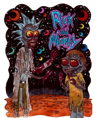 Zombie Art : Zombie Rick and Morty! Zombie Art by Rob Sacchetto