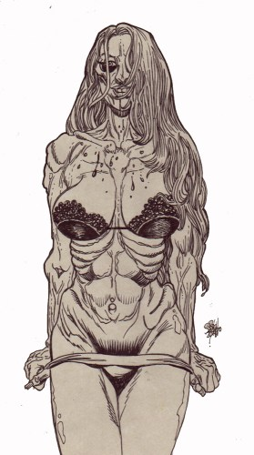 Zombie Art : Zombie Pinup Diva #215 Zombie Art by Rob Sacchetto