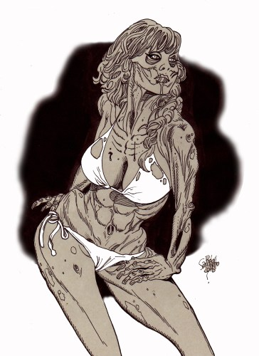 Zombie Art : Zombie Pinup #217 Zombie Art by Rob Sacchetto