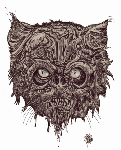 Zombie Art : Zombie Cat Head #8 Zombie Art by Rob Sacchetto