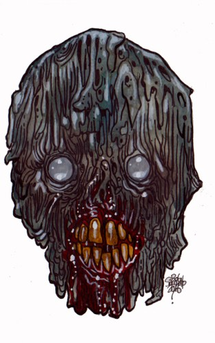 Zombie Art : Wrinkled Rot Head Zombie Art by Rob Sacchetto