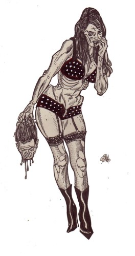 Zombie Art Pinup Diva #124 Zombie Art by Rob Sacchetto
