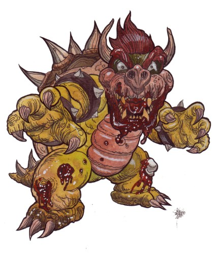 Zombie Art : Bowser : Super Smash Bros Zombie Art by Rob Sacchetto