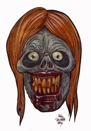 Zombie Art : Grinning Girl Ghoul Zombie Art by Rob Sacchetto