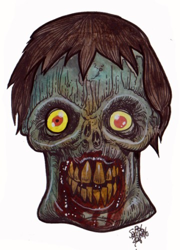 Zombie Art : Square Jaw Sponge Eyes Zombie Art by Rob Sacchetto