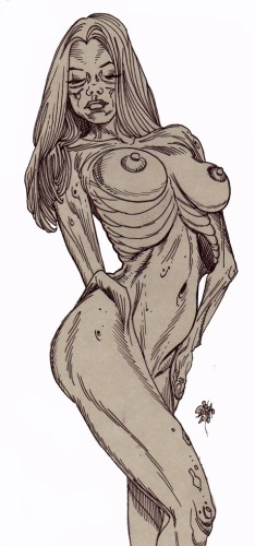 Zombie Art : Full Nude Pinup Diva #225 Zombie Art by Rob Sacchetto