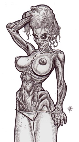 Zombie Art : Pinup #233 'Biggest Tits' Zombie Art by Rob Sacchetto