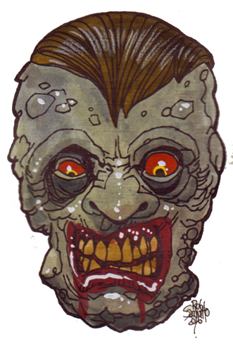 Zombie Art Angry Deaths Head Zombie Art by Rob Sacchetto