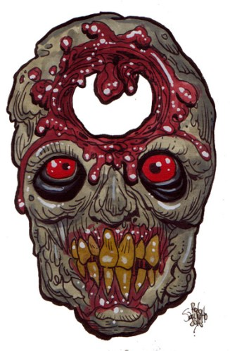 Zombie Art Holey Head Zombie Art by Rob Sacchetto