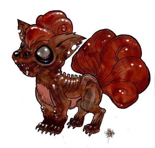 Zombie Art : Vulpix Pokemon Zombie Art by Rob Sacchetto