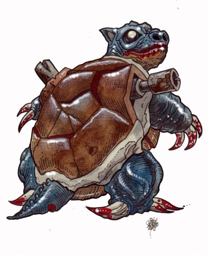 Zombie Art : Blastoise Pokemon Zombie art by Rob Sacchetto