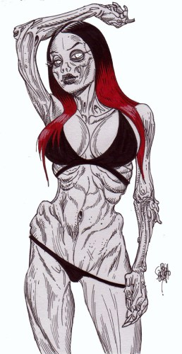 Zombie Art : Pinup #254 Dani Divine Zombie Art by Rob Sacchetto