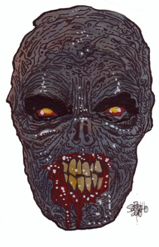 Zombie Art : Hamburger Hell Head Zombie Art by Rob Sacchetto