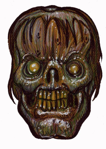 Zombie Art : Slimy Block Head Zombie Art by Rob Sacchetto