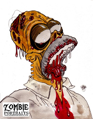 Zombie Art : Homer Simpson Zombie Zombie Art by Rob Sacchetto