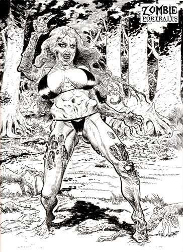 Zombie Art : Mad Bikini Pinup Zombie Art by Rob Sacchetto