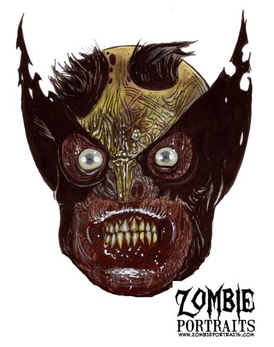 Zombie Art : Wolverine Head Zombie Art by Rob Sacchetto