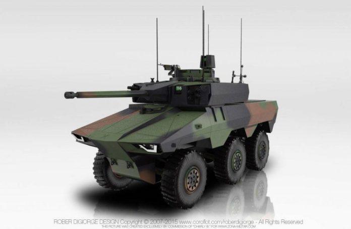 Imagen digital del EBRC Jaguar. La torreta Nexter T40 cuenta con un revolucionario cañón CTA de 40mm y con dos lanzadores para misiles anti-tanque MBDA MMP. Imagen: RoberD.