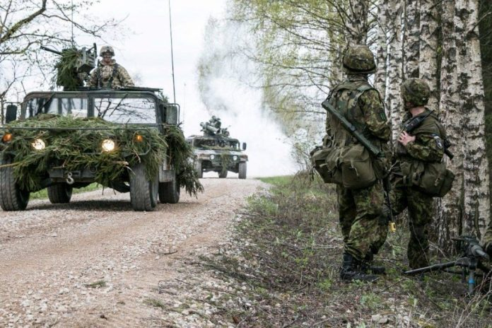 Soldados estonios observan como una columna de HMMWVs de la 173rd Airborne Brigade avanza por su posición durante el ejercicio Siil. Imagen - US Army - Sgt. 1st Class Joshua Brandenburg.