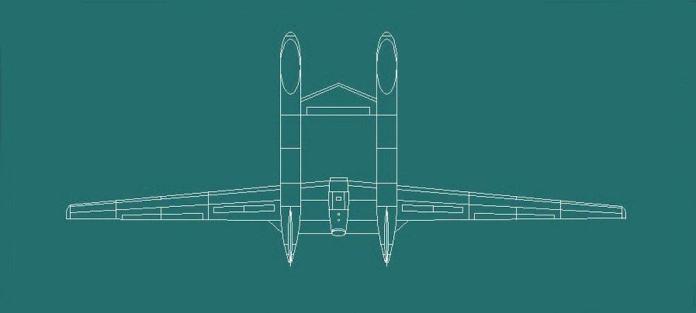 Dibujo en planta especulativo del UAV del 'Águila Divina'. Imagen: Internet vía CJDBY