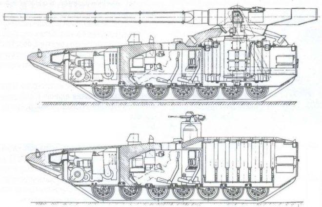 Cortes transversales correspondientes a dos versiones del Object 299: tanque y lanzador múltiple de misiles anti-tanque respectivamente. Imagen: Internet.