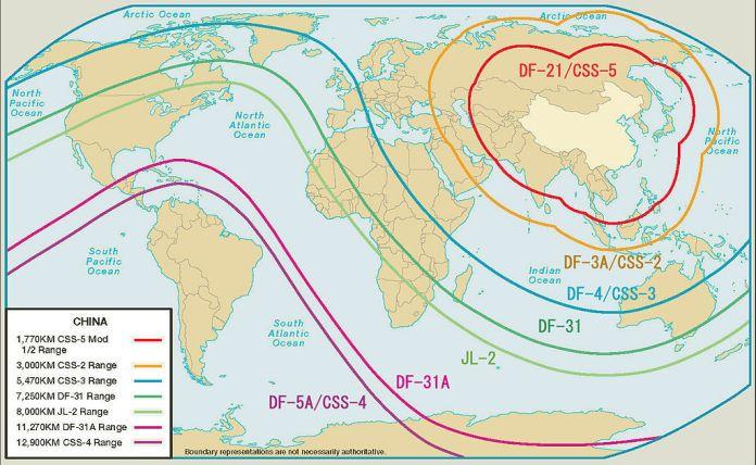 Alcance aproximado de los misiles balísticos intercontinentales y de medio alcance. Military Power of the People's Republic of China 2007- P.19 and add text.