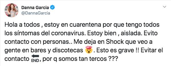 Tweet de la actriz Danna García.
