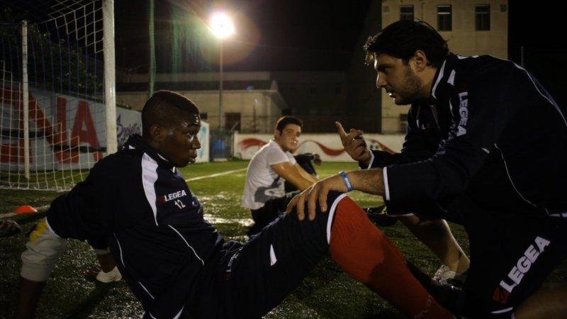 L'Afro Napoli durante un allenamento