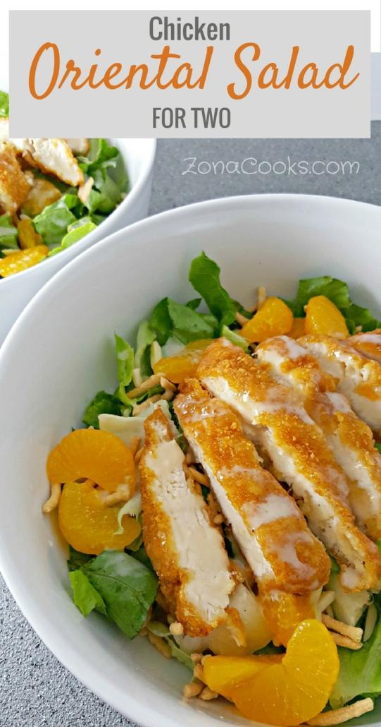 Chicken Oriental Salad for Two Recipe - This delicious Chicken Oriental Salad is perfect for a light, refreshing lunch or romantic date night dinner for two. It has great crunch in the lettuce, breaded chicken, chow mein noodles, and almonds mixed with the soft sweetness of the mandarin oranges. The dressing has incredible sweet and tangy flavor, and it's quick and easy to make.