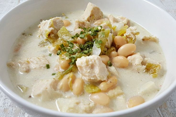 Crockpot Creamy White Chicken Chili Recipe for Two - perfect lunch or dinner!