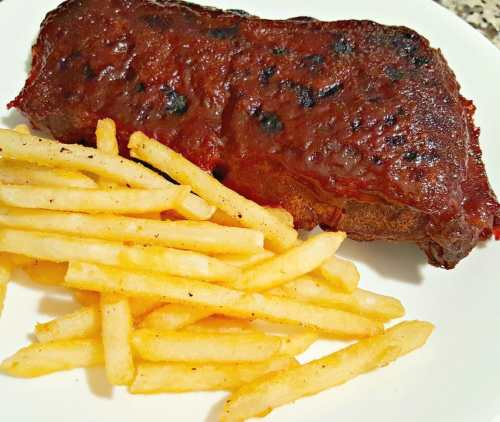 Crockpot BBQ Ribs for Two and a side of fries