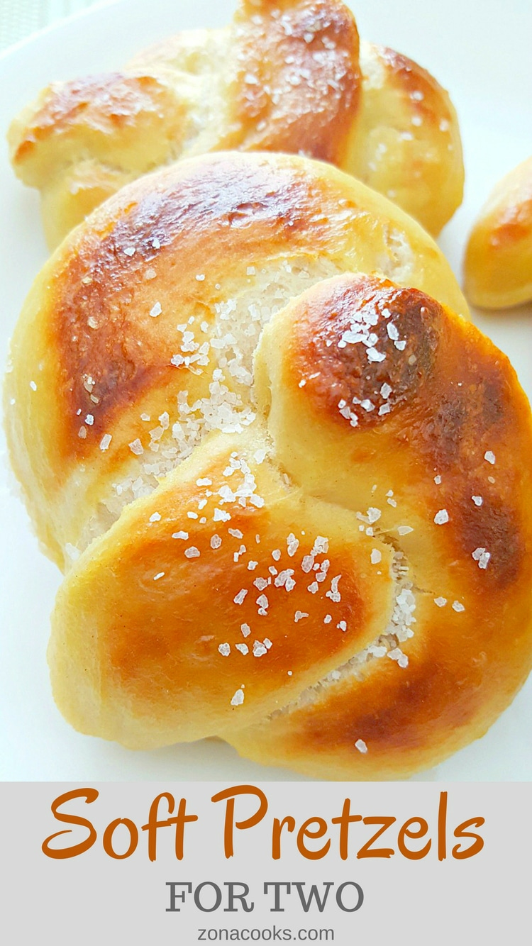 Soft Pretzels for Two - These decadent fat soft pretzels are warm and golden with a chewy salty crust. Serve it plain or dip it into your favorite mustard or cheese sauce. The ingredients are typical pantry staples making it convenient to whip up a batch anytime you are in the mood. Once you taste these, that mood will be often!