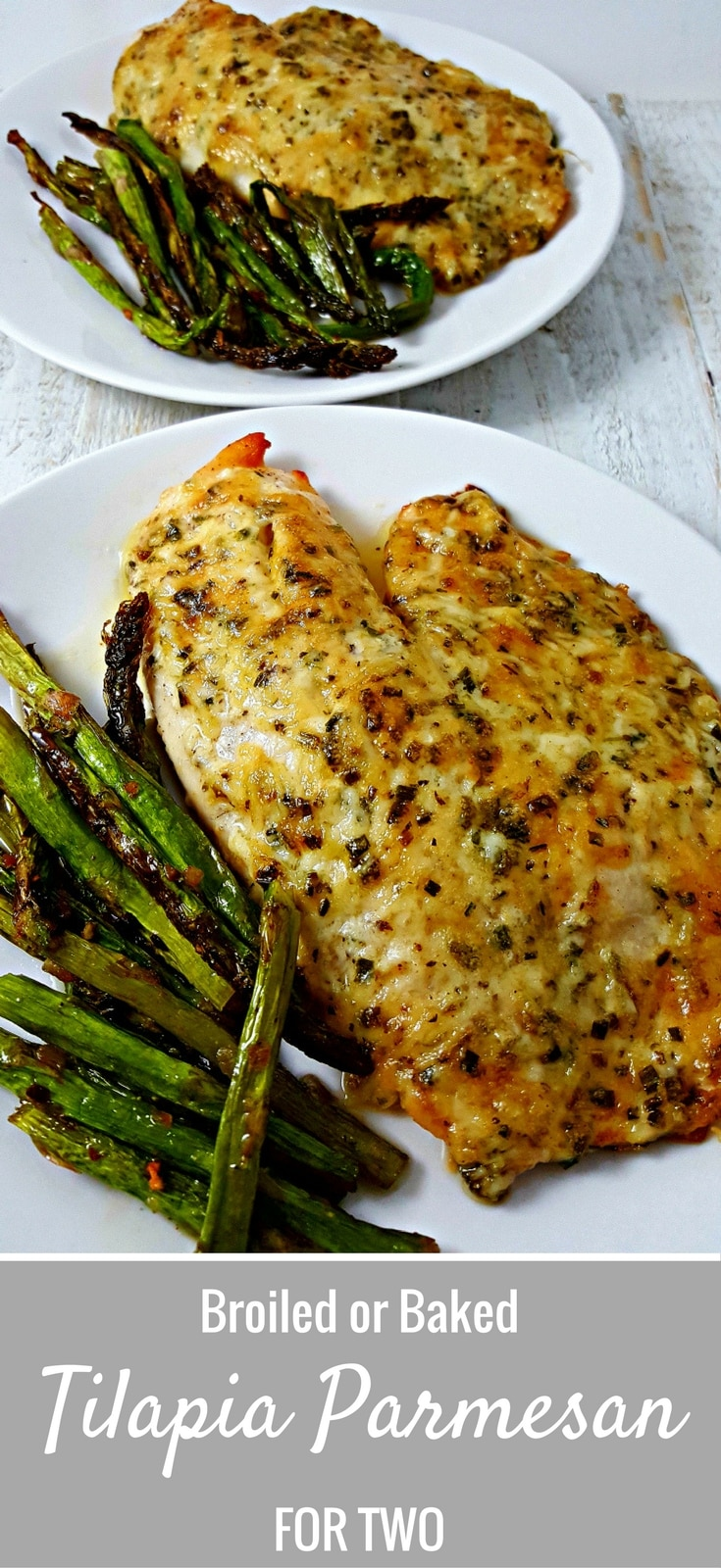 This Tilapia Parmesan for two recipe is so easy and quick to prepare. I am not usually big on fish, but I absolutely love the flavor and ease of this Tilapia. It is a mild fish and the sauce on top is cheesy, golden brown and savory. This dish can be baked or broiled.
