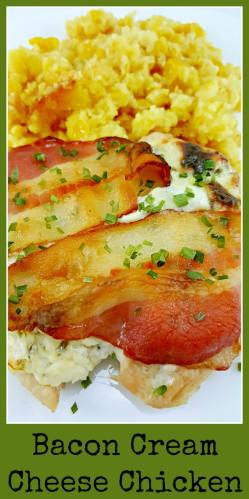 Bacon Cream Cheese Chicken served with creamy corn casserole