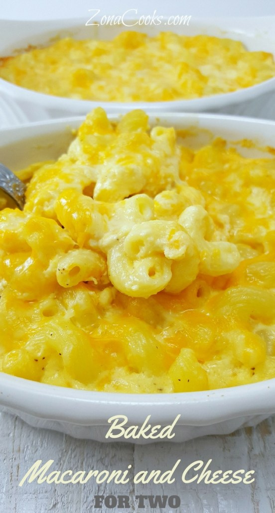 Baked Macaroni and Cheese for Two - Baked Macaroni and Cheese is gooey, rich, creamy comfort food. I love the look and texture of this cavatappi pasta but any pasta works great in this recipe.